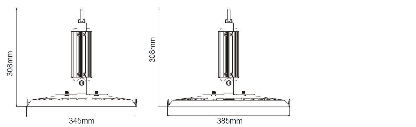 Dimension of Mplus LED UFO High Bay